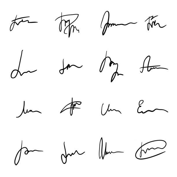 satz von schwarz handgezeichnete weitläufige signaturen - unterschrift stock-grafiken, -clipart, -cartoons und -symbole