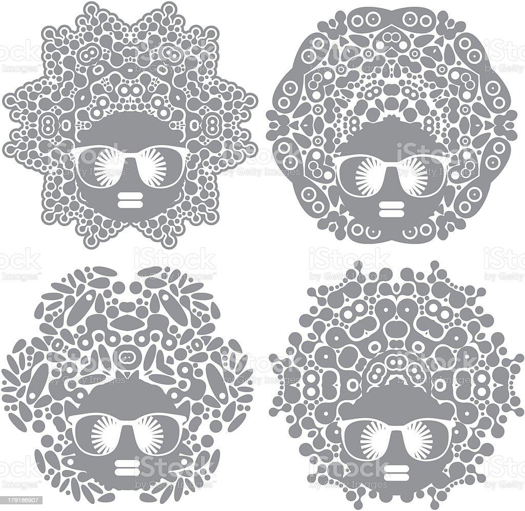 Set of black head women. vector art illustration