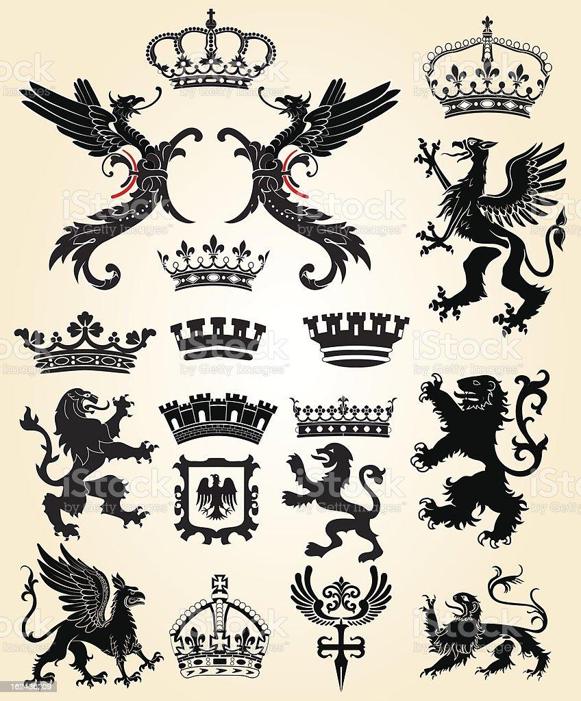 Set of black heraldic designs on a vintage cream background royalty-free stock vector art