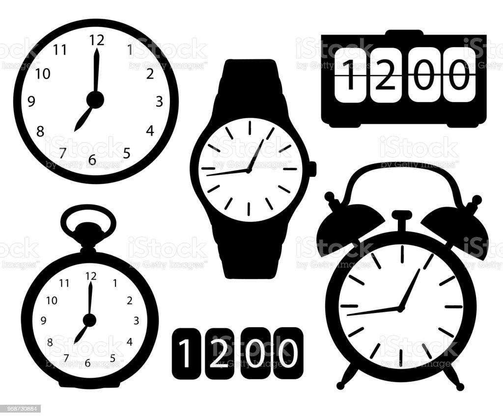 Der Schwarze Symbol Silhouette Uhren Und Uhren Wecker Digitale ...