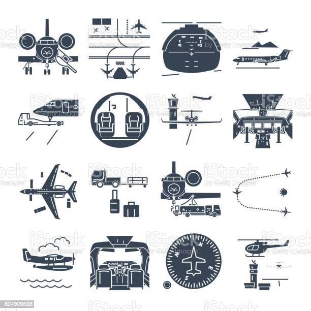 Set of black icons airport and airplane business jet vector id824909538?b=1&k=6&m=824909538&s=612x612&h=s0oobmivccgm kbgfftobq0gai0nrsyo7xbimb9jt5o=