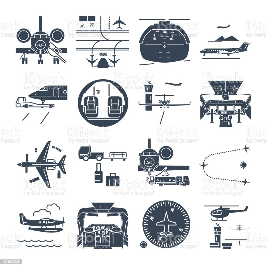set of black icons airport and airplane, business jet vector art illustration