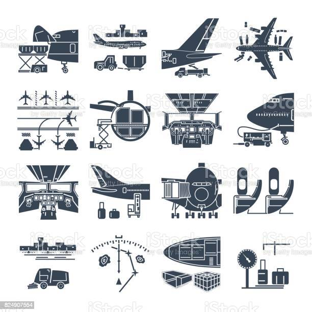 Set of black icons airport and airplane freight cargo aircraft vector id824907554?b=1&k=6&m=824907554&s=612x612&h=t41blakyguanujly1 t6y2xeihbrzo56d0c3hilloau=
