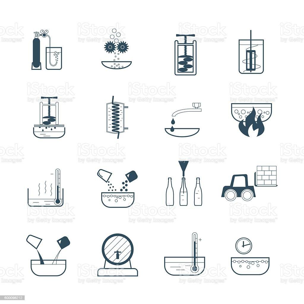 set of black icons beverage production process vector art illustration