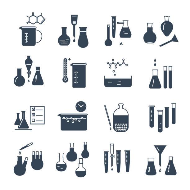 set of black icons chemical laboratory equipment and flask set of black icons chemical laboratory equipment and flask laboratory flask stock illustrations