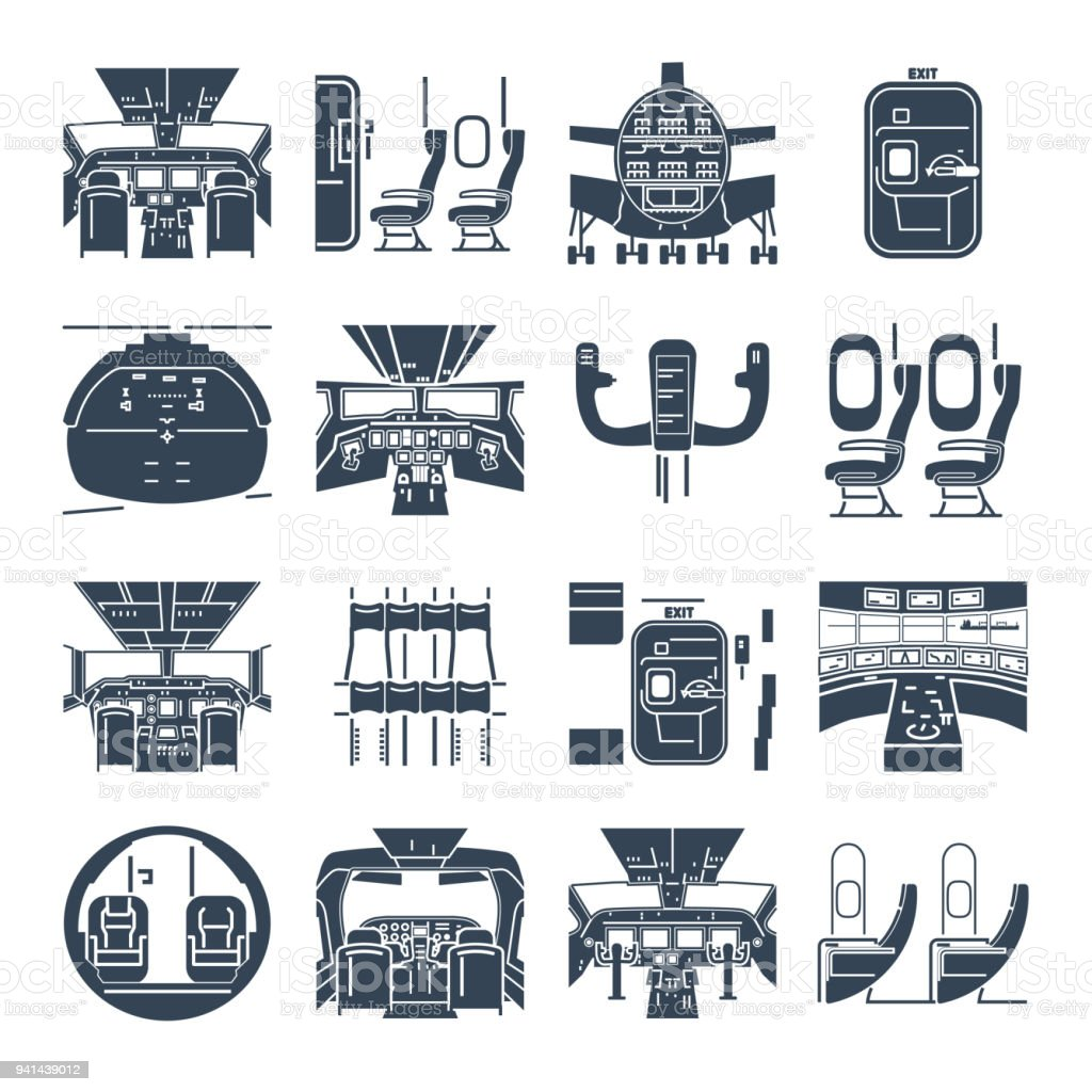set of black icons cockpit airplane, ship, cabin interior vector art illustration