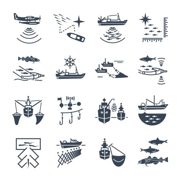 set of black icons commercial fishing set of black icons commercial fishing process seine river stock illustrations