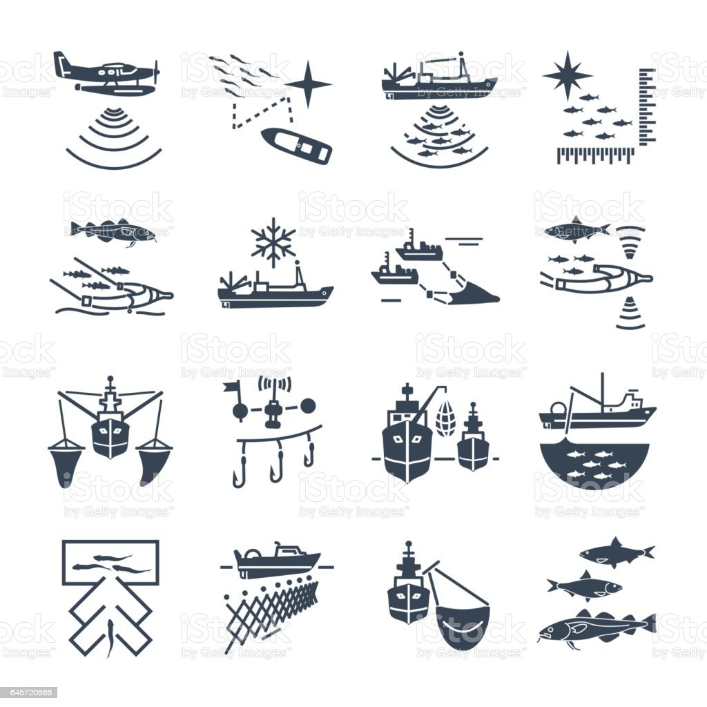 set of black icons commercial fishing vector art illustration