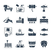 set of black icons food, meal production process, fish, meat