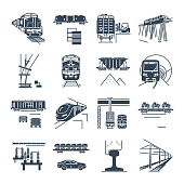 set of black icons freight and passenger rail transport, train