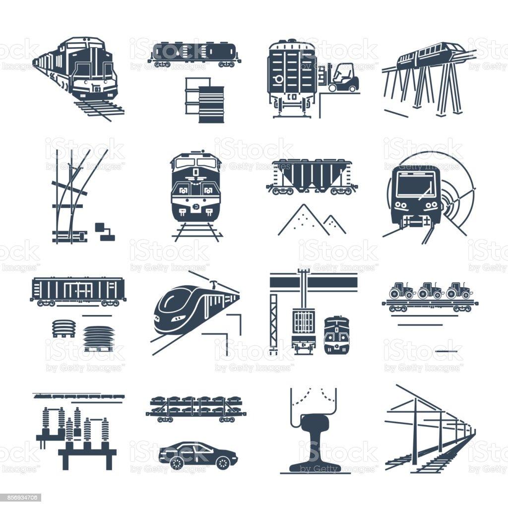 Satz von schwarzen Symbole Fracht- und Eisenbahn-Personenverkehr, Zug – Vektorgrafik