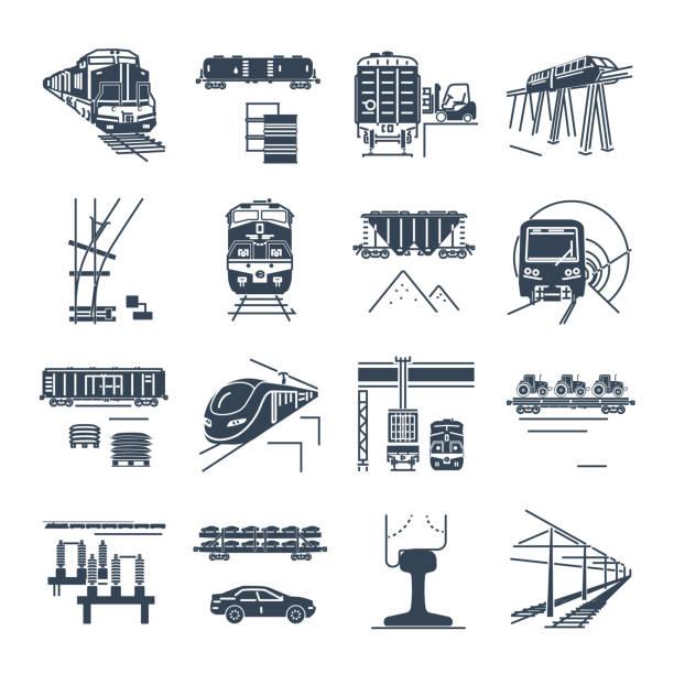 set of black icons freight and passenger rail transport, train set of black icons freight and passenger rail transport, railway, train, terminal, locomotive railway bridge stock illustrations