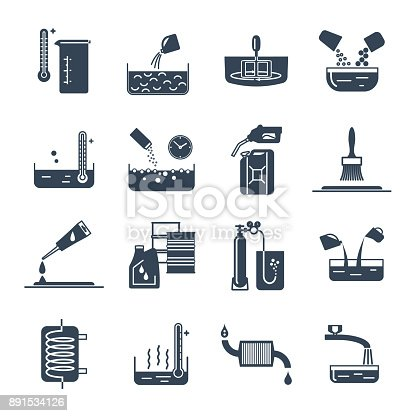 set of black icons household chemicals, tool, process
