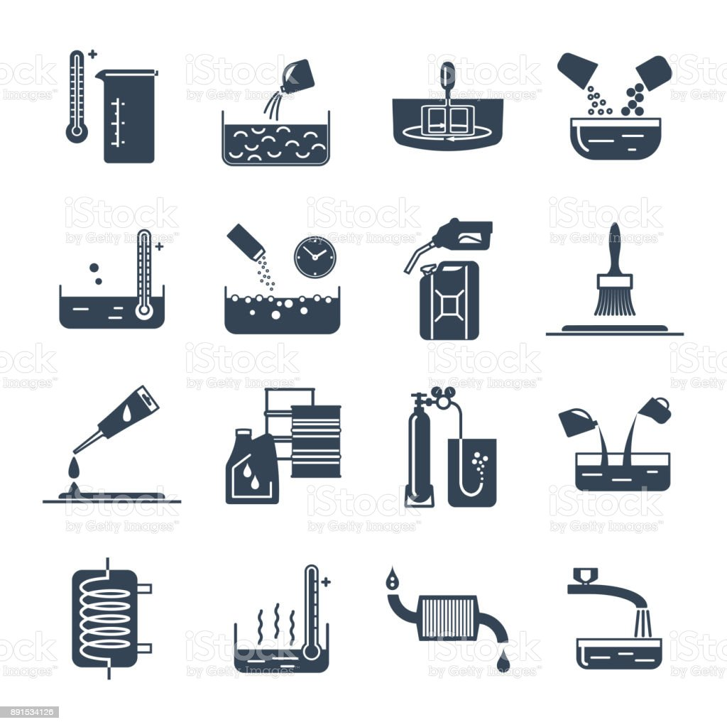 set of black icons household chemicals, tool, process vector art illustration