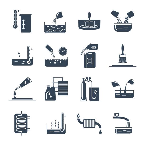 ilustrações, clipart, desenhos animados e ícones de conjunto de produtos químicos domésticos ícones pretos, ferramenta, processo - misturando