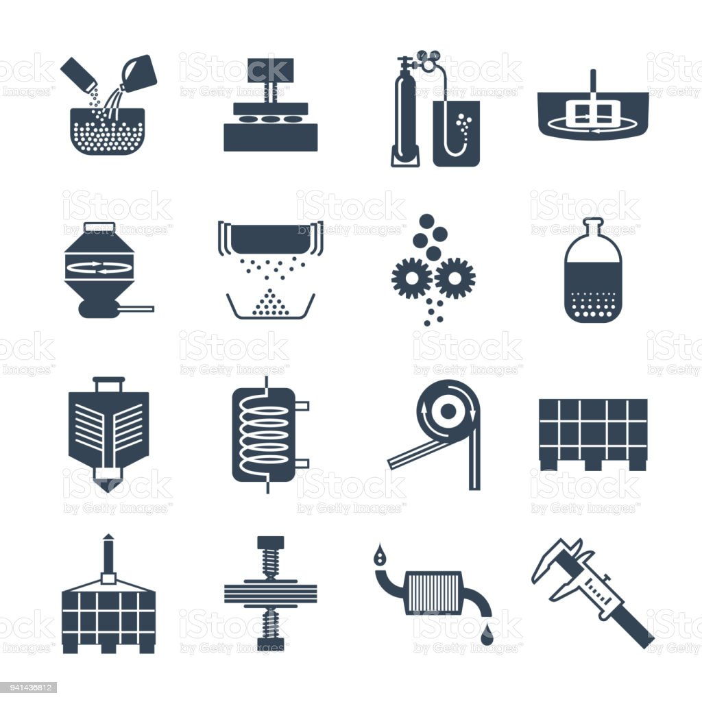set of black icons industrial production, factory, equipment vector art illustration
