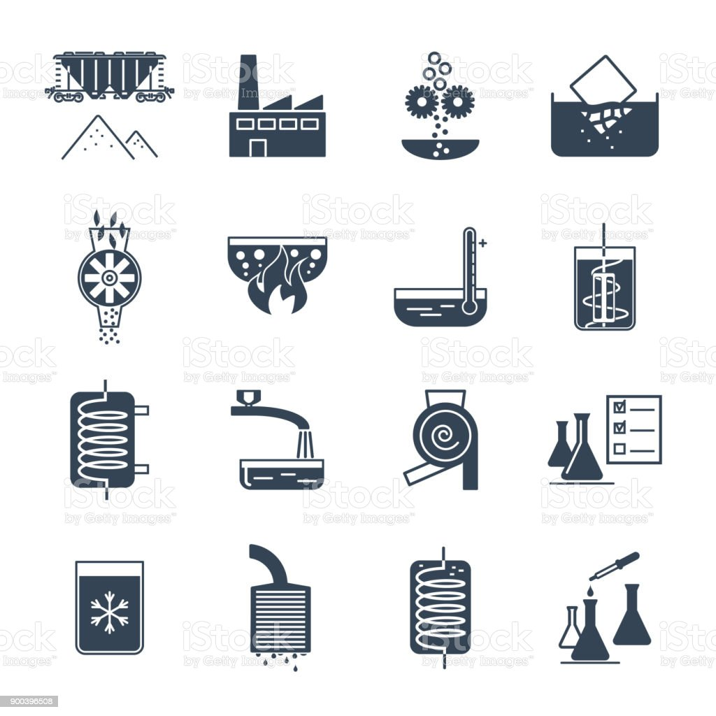 set of black icons industrial production process, equipment vector art illustration