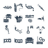 set of black icons maintenance, repair of car and automobile