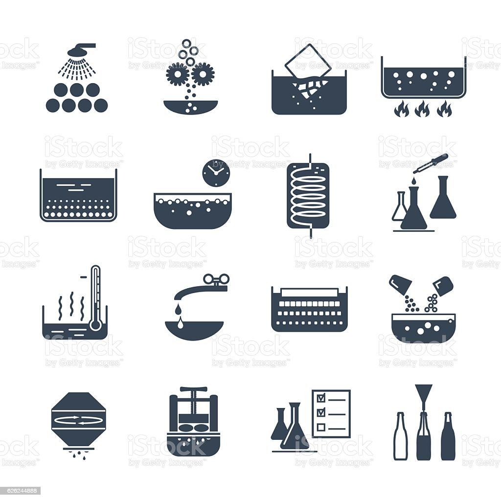set of black icons manufacture of beverages production process vector art illustration
