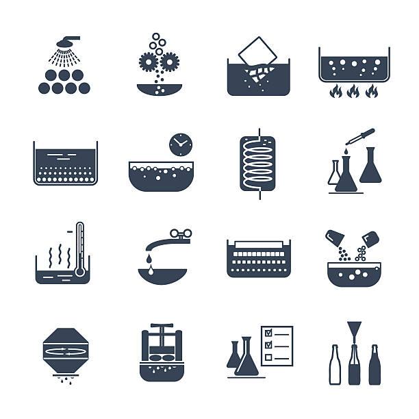 bildbanksillustrationer, clip art samt tecknat material och ikoner med set of black icons manufacture of beverages production process - coffe with death