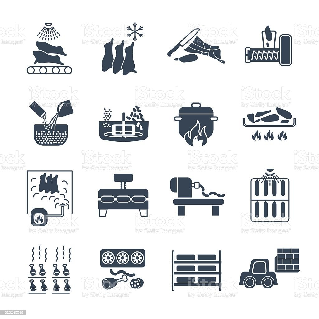 set of black icons manufacture of meat products production proce vector art illustration