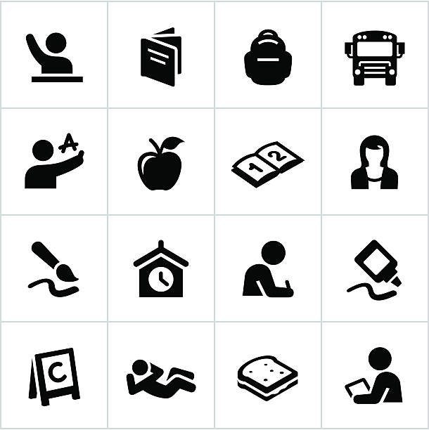 Set of black icons related to elementary school Elementary school related icons. All white strokes/shapes are cut from the icons and merged allowing the background to show through. female sandwich stock illustrations