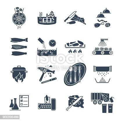 Ilustra o de conjunto de cones pretos restaurante Proceso de produccion en un restaurante