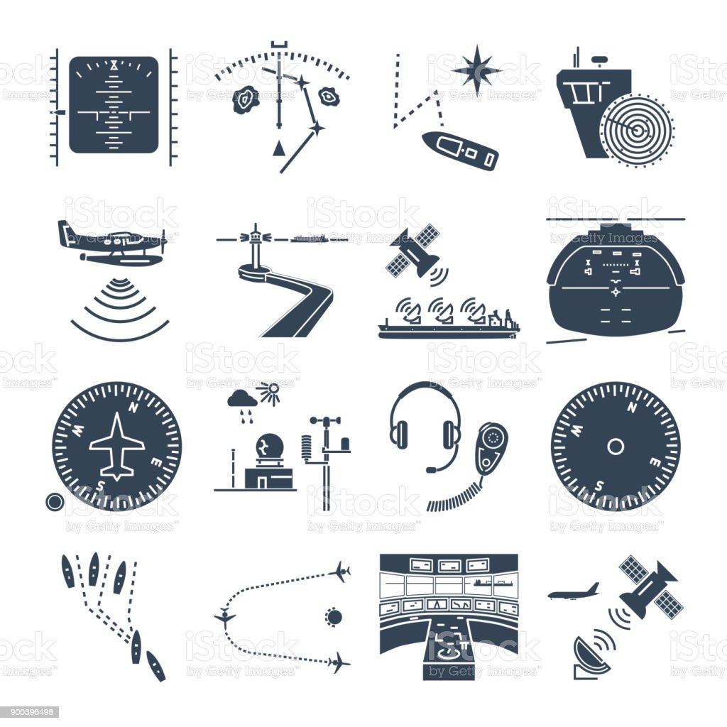 set of black icons sea and air navigation, equipment, devices vector art illustration