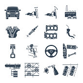 set of black icons servicing, maintenance of car and automobile