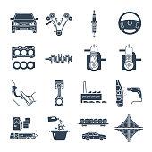 set of black icons servicing, maintenance, repair of car