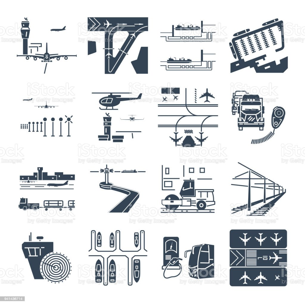set of black icons transport infrastructure, road, air, sea vector art illustration