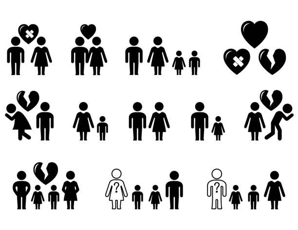 illustrazioni stock, clip art, cartoni animati e icone di tendenza di set of black icons with family situation - divorzio