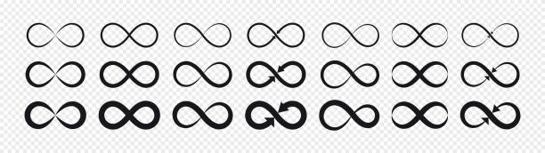 Set of black infinity symbols and signs silhouettes. Isolated on transparent background. Vector illustration flat design of black infinity symbols and signs silhouettes. eternity stock illustrations