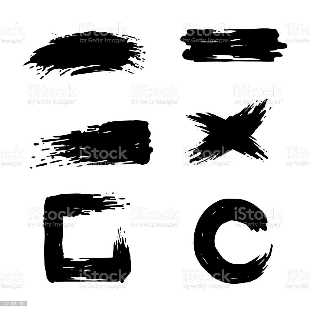 Conjunto de trazos de pincel de tinta negro aislado sobre fondo blanco - ilustración de arte vectorial