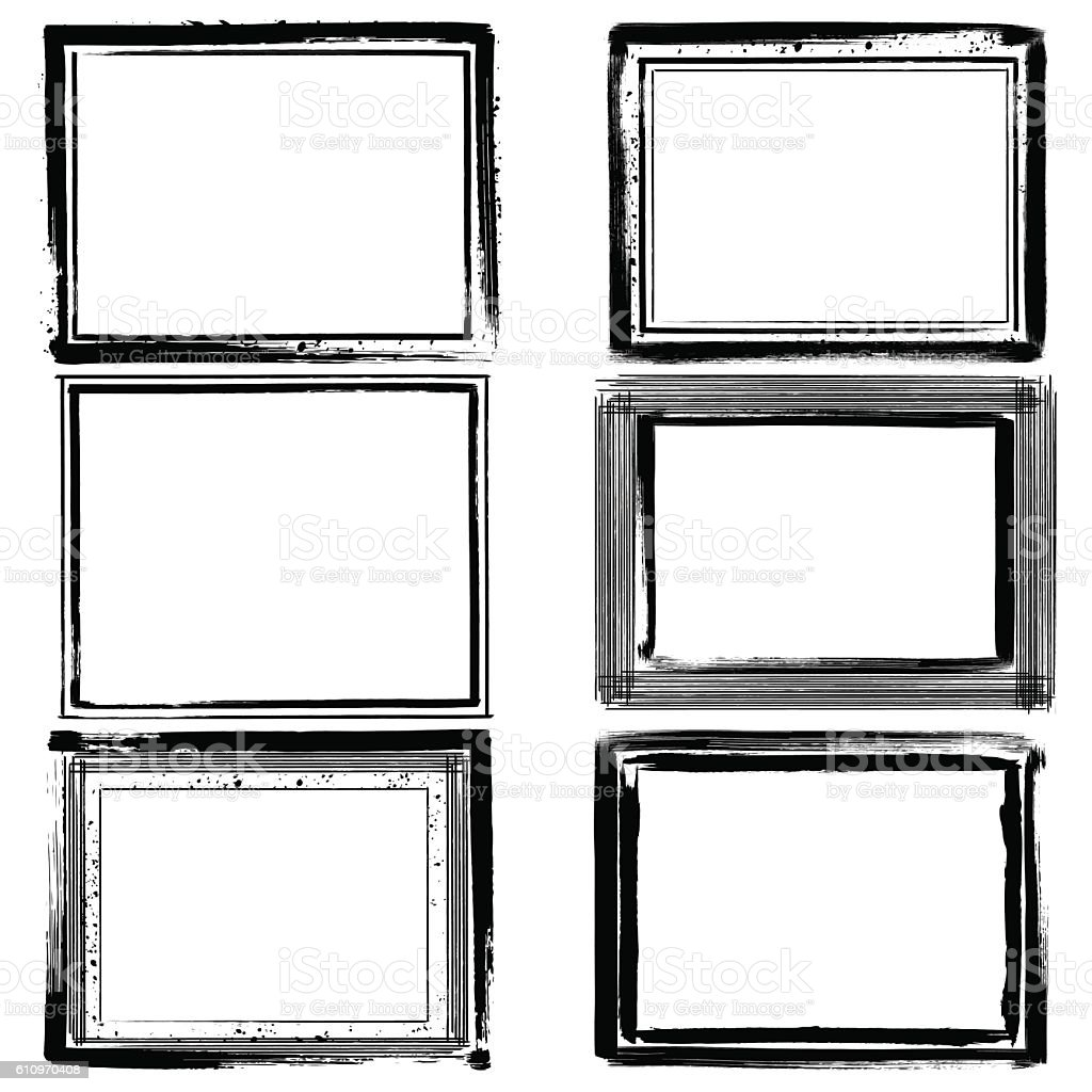 Set of black ink grunge frames on white background. Border vector art illustration