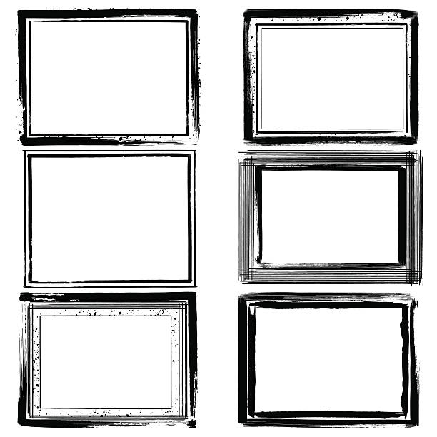 set of black ink grunge frames on white background. border - grunge rahmen stock-grafiken, -clipart, -cartoons und -symbole