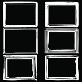 Set of black ink grunge frames on white background vector illustration. Border frame for desing