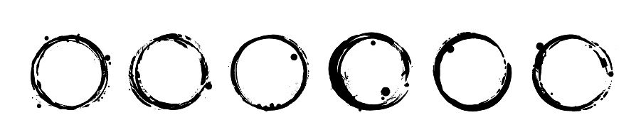 Set of black ink grunge texture circle blots. Brush strokes paint frames collection. Vector