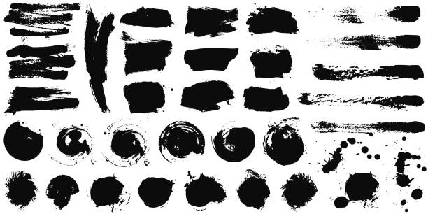 Set of Black ink vector stains Set of black ink hand drawn brushes collection isolated on white background for your design. Dirty artistic brush strokes element. Black labels, background, paint texture. Vector splattered stock illustrations