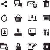 Set of black internet icons on a white background