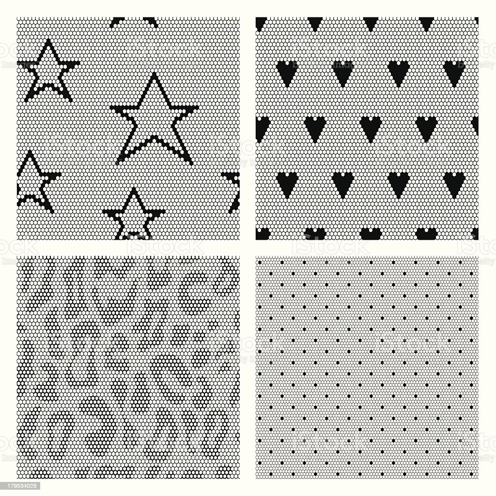 Set of black lace vector fabric seamless patterns. vector art illustration