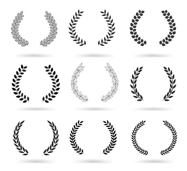 set of black laurel wreaths isolated on white background. - laurel leaf stock illustrations, clip art, cartoons, & icons