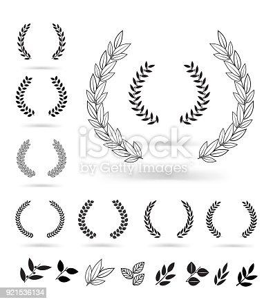 istock Set of black laurel wreaths isolated on white background. 921536134