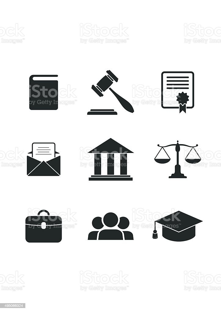 Set of black Law and Justice Icons. vector art illustration