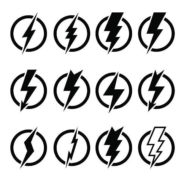 set of black lightning bolts and signs - lightning stock illustrations