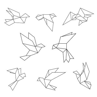 Set of black line geometric dove. Vector illustration.