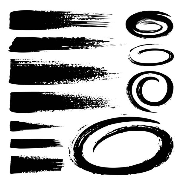 Set of black marker text selection. Hand drawn strokes, circles and ovals markers isolated on white background. Black and white grunge style. vector art illustration