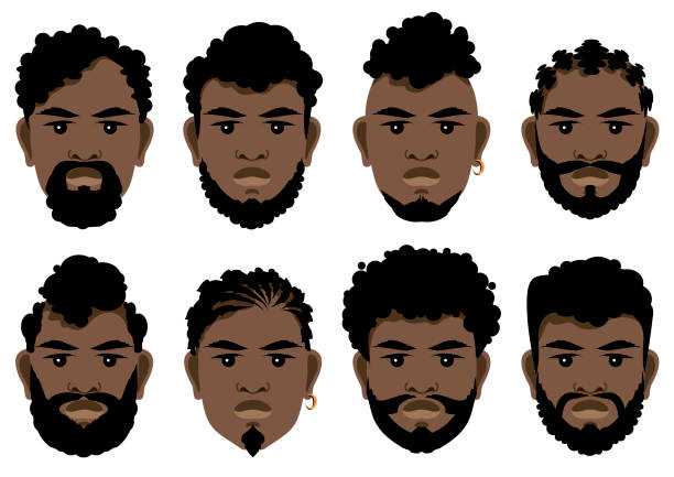 set of black men's faces with different hairstyles, beards and mustache . - kręcone włosy stock illustrations