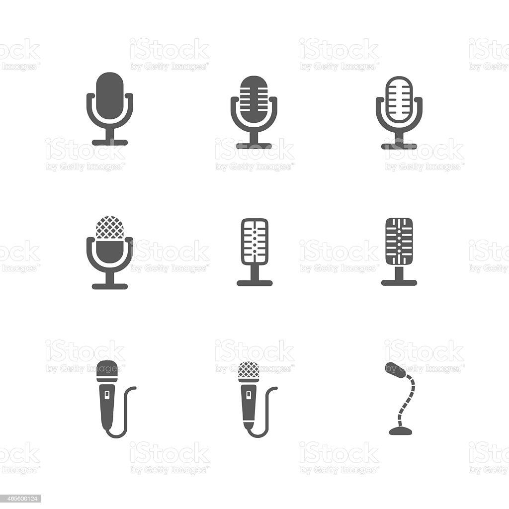 Set of Black Microphone Icons Design