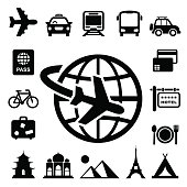 Set of black monochromatic travel and vacation related icons